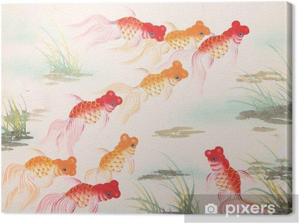 Kiinalainen kultakala-maalaus Kangaskuva - Eläimet