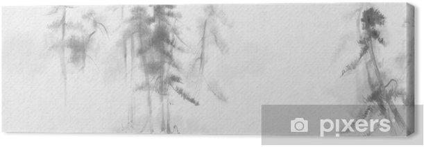 Kiinalainen maalaus mäntyjen maisema Kangaskuva - Maisemat