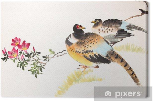 Kiinalainen muste maalaus lintu ja kasvi Kangaskuva - Eläimet