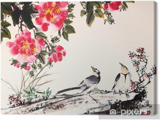 Kiinalainen muste maalaus lintu ja puu Kangaskuva - Eläimet