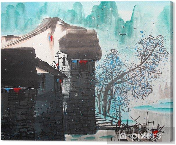 Kiinalainen piirustus vesi kaupunki Kangaskuva - Maisemat