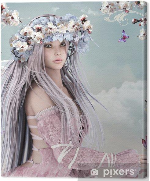 Kukka tyttö Kangaskuva -