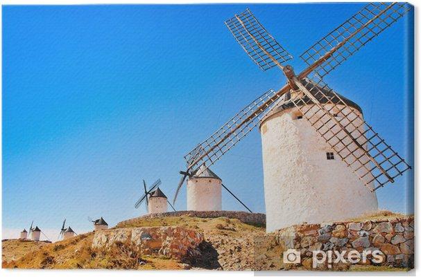 Kuuluisa tuulimyllyt consuegra auringonlaskun aikaan, andalusia, espanja Kangaskuva - Eurooppa
