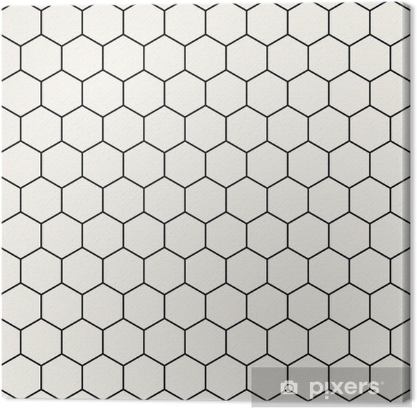 Kuusikulmainen geometrinen mustavalkoinen graafinen kuvio Kangaskuva - Graafiset Resurssit