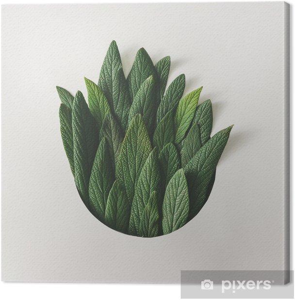 Luova vähäinen järjestely vihreiden lehtien. luontokäsite. tasainen lay. Kangaskuva - Kasvit Ja Kukat