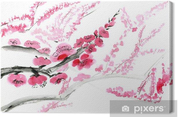 Luumukukka. kuva itämainen tyyli intialainen muste, sumi-e. Kangaskuva - Kasvit Ja Kukat