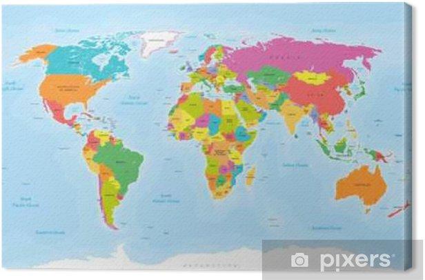 Maailman Kartta Vektori Englanti Us Etiketit Kangaskuva