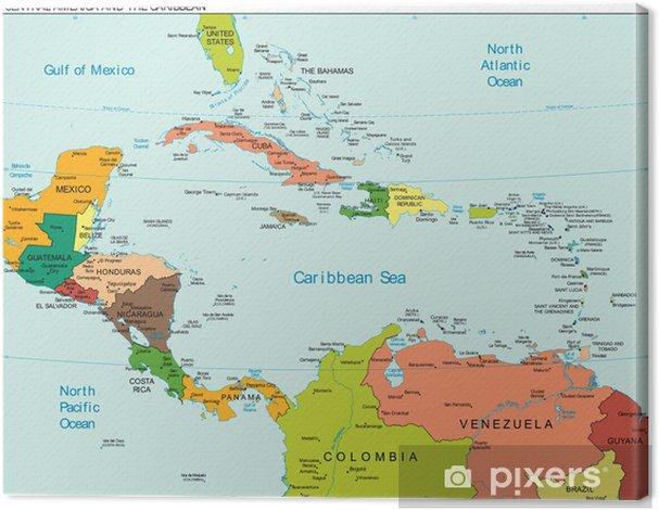 Maailman Maa Keski Amerikka Karibian Kartta Kangaskuva Pixers