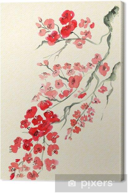 Muinainen perinteinen taiteellinen luumu blossom Kangaskuva - Kasvit Ja Kukat