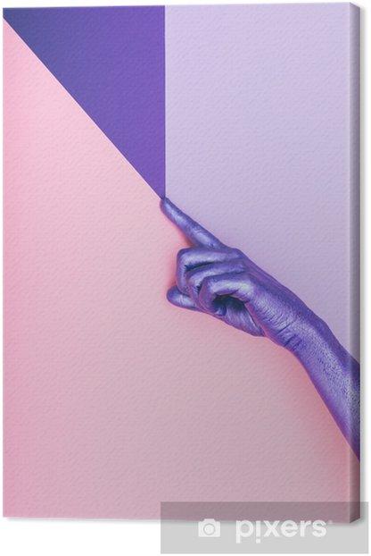 Muoti pearly violetti käsi. ultravioletti-käsite. pastelli minimaalinen. kauneus ja muoti Kangaskuva -