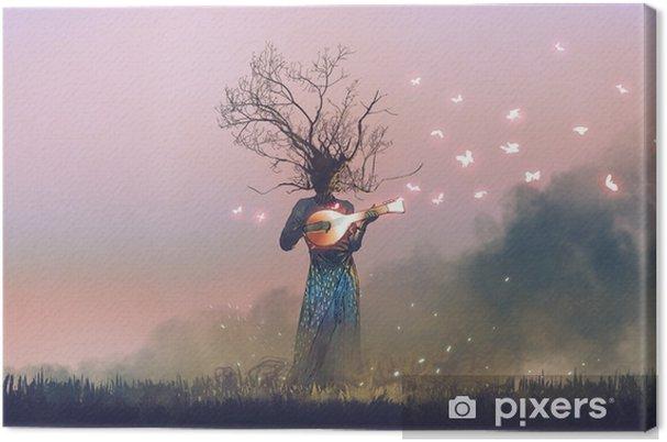 Olento haara pää pelissä taikuutta banjo string instrumentti hehkuva perhosia, digitaalinen taidetyyli, kuvitus maalaus Kangaskuva - Tiede