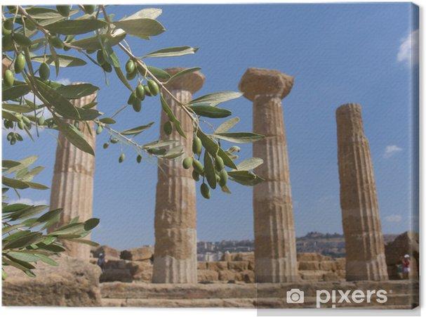 Oliivi-haara ja kreikkalainen sarake Kangaskuva - Lomat