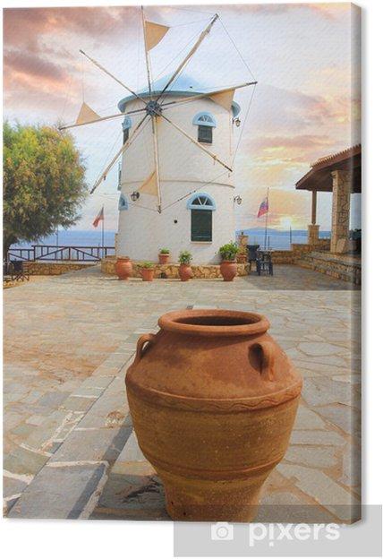 Perinteinen tuulimylly kreikassa, zakynthos saari Kangaskuva - Mills and windmills
