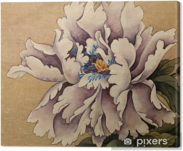 Pioni kukka keltaisella pohjalla Kangaskuva - Kasvit Ja Kukat