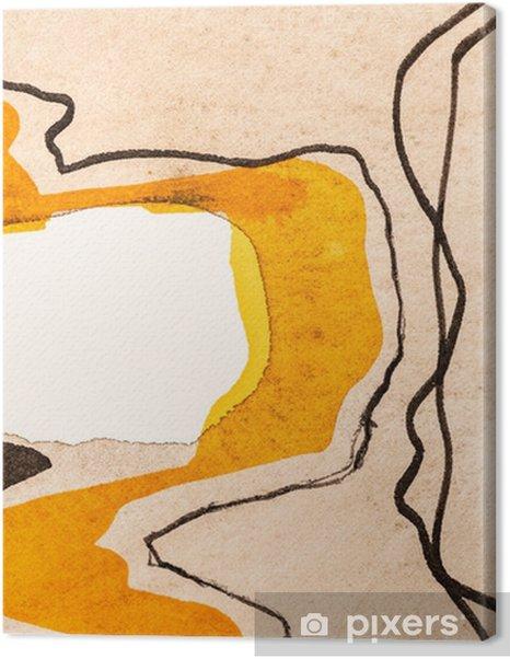 Yksityiskohta abstraktista akvarellista ja mustemaalauksesta; mutkitteleva nauha. Kangaskuvat premium - Graafiset Resurssit