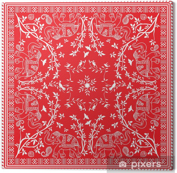 Punainen ja valkoinen elefantti aasialainen neliö huivi tai bandana  Kangaskuva 75a58ab925