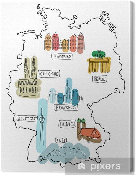 Saksa Kartta Doodle Kuva Kangaskuva Pixers Elamme Muutoksille