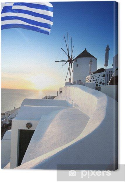Santorini tuulimyllyllä ja kreikan lipulla Kangaskuva -