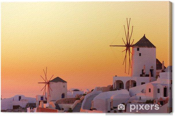 Santorinin auringonlasku Kangaskuva - Mills and windmills