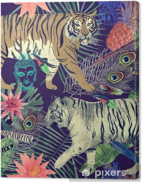 Saumaton akvarelli kuvio tiikerit, lehdet, höyhenet ,. Kangaskuva - Graafiset Resurssit