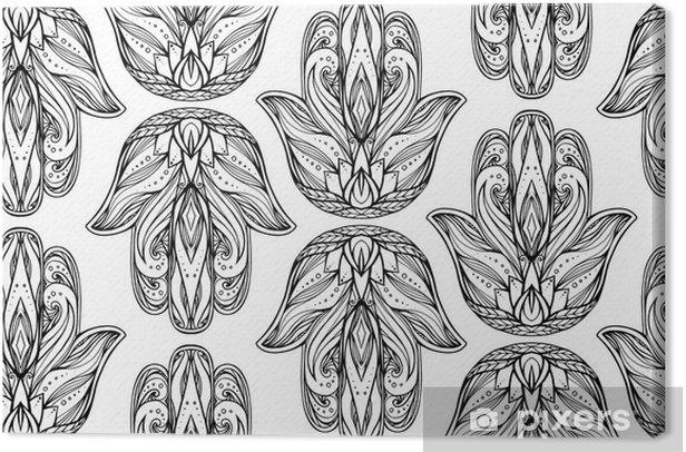 Saumaton malli ääriviivat esimerkki hamsa kanssa boho kuvio. buddhan käsi. vektori tausta taustakuvia, kääre, painatus t-paitoja ja tekstiiliä. käsintehty käsintehty kuvio Kangaskuva - Kulttuuri Ja Uskonto