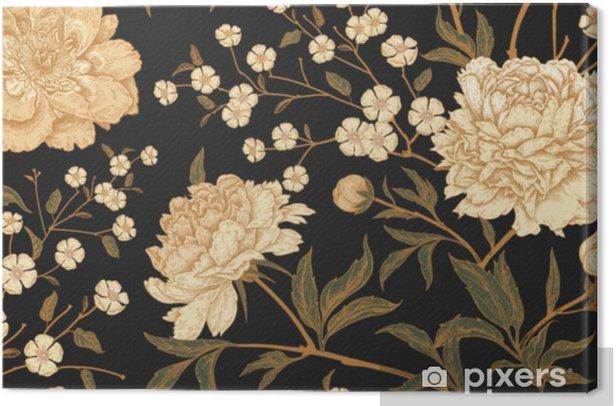 Saumaton malli eksoottisten lintujen fasaanien ja pioni kukkien kanssa. Kangaskuva - Kasvit Ja Kukat
