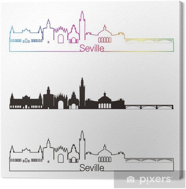 Seville v2 skyline lineaarinen tyyli sateenkaaren kanssa Kangaskuva - Urbaani