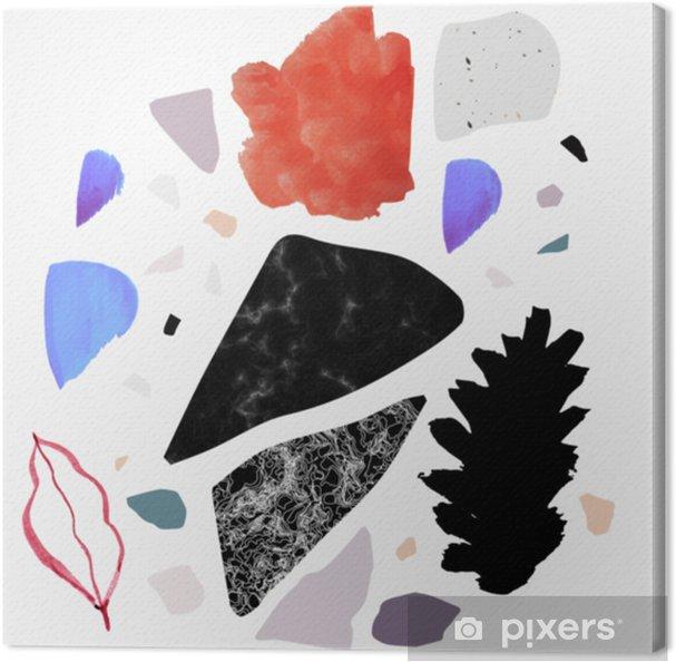 Terrazzo abstrakti juliste tai kortti. abstact art.birthday, vuosipäivä, valentinin päivä, puolueen kutsut, häät, kannet. Kangaskuva - Kulttuuri Ja Uskonto