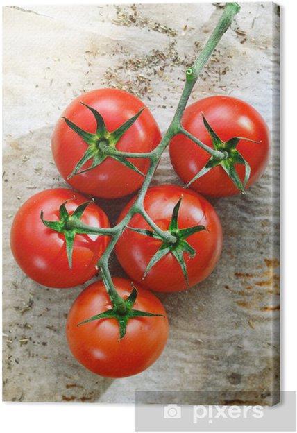 Tuoreita tomaatteja ryppyinen paperi Kangaskuva - Themes