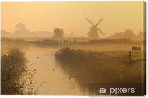 Tuulimylly hollantilaisessa maaseudulla Kangaskuva - Mills and windmills