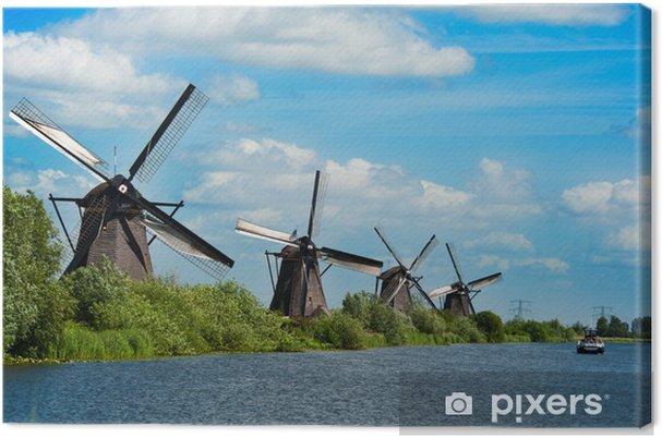 Tuulimylly maisemaan kinderdijk alankomaissa Kangaskuva - Mills and windmills