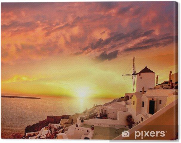Tuulimylly santorini vastaan auringonlaskua, kreikka Kangaskuva - Mills and windmills
