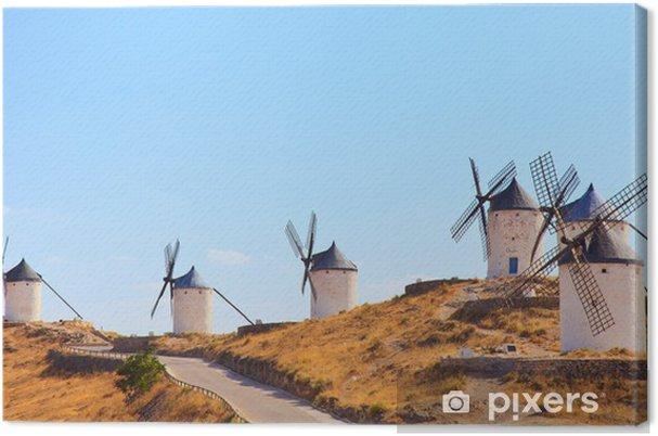 Tuulimyllyt consuegra maamerkki, panoraama. castile la mancha, sp Kangaskuva - Mills and windmills