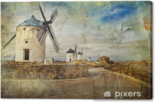 Tuulimyllyt espanja - kuva maalaustyylistä Kangaskuva - Mills and windmills