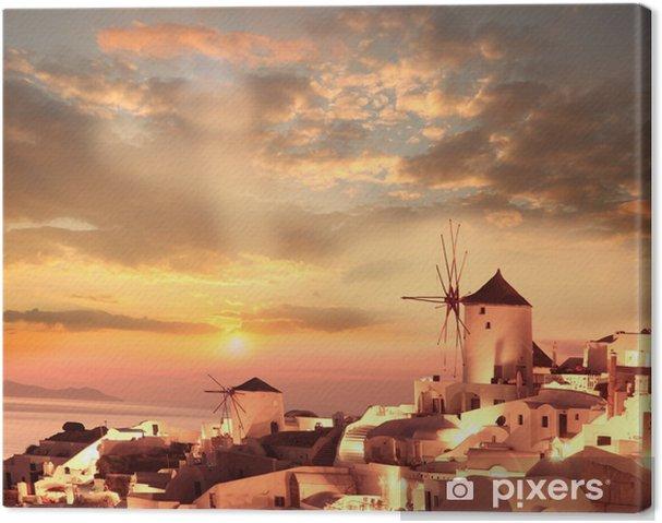 Tuulimyllyt santorini vastaan auringonlasku, kreikka Kangaskuva - Mills and windmills