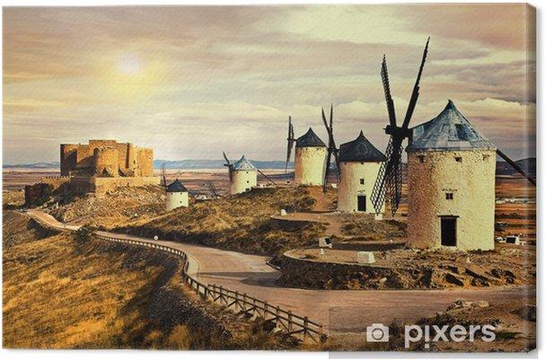 Vaaleanpunainen auringonlasku yli cosuegra tuulimyllyt Kangaskuva - Mills and windmills