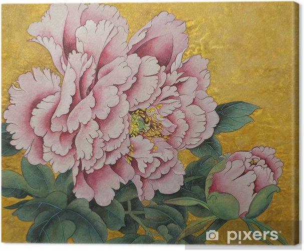 Vaaleanpunainen pioni kukka kulta taustalla Kangaskuva - Kasvit Ja Kukat