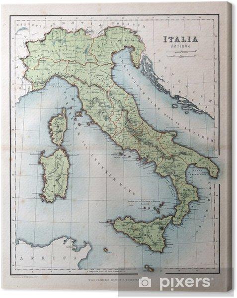 Vanha Italian Kartta 1870 Kangaskuva Pixers Elamme Muutoksille