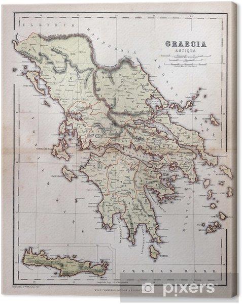 Vanha Kreikan Kartta 1870 Kangaskuva Pixers Elamme Muutoksille