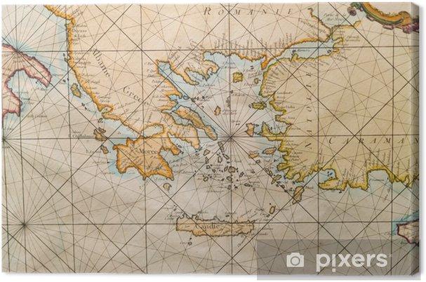Vanha Kreikan Kartta Lansi Turkki Albany Crete Kangaskuva
