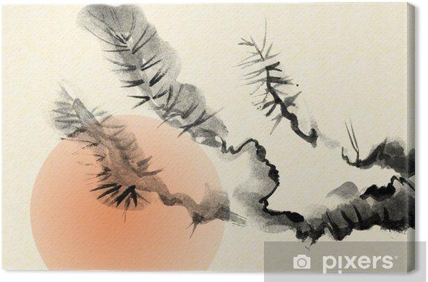 Vanhan mäntyn oksat, jotka on vedetty sumi-e: n tyyliin. Kangaskuva - Kasvit Ja Kukat