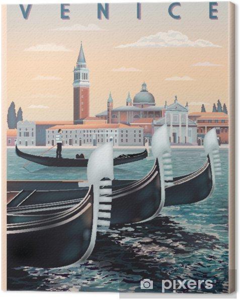 Varhain aamulla venetsissä, italiassa. matka- tai postikorttimalli. kaikki rakennukset ovat erilaisia esineitä. käsintehty piirustus vektori kuva. vintage-tyyliin. Kangaskuva - Harrastukset Ja Vapaa-Aika