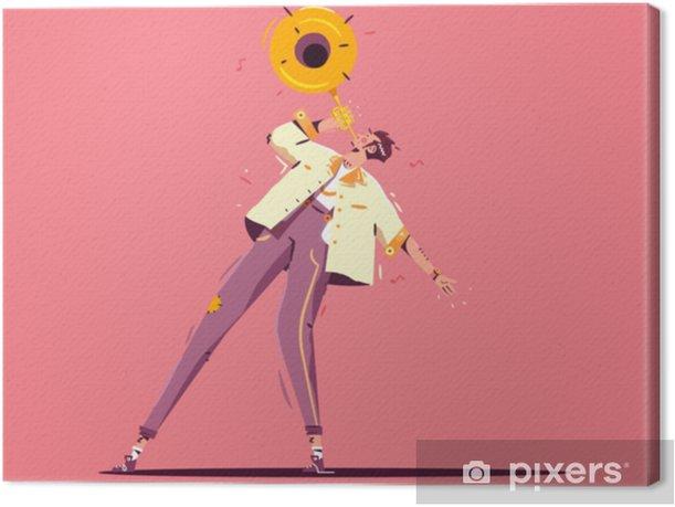 Värikäs jazz kuvitus. mies kävely trumpetti. vektori kuva tasainen tyyli viljan rakenne Kangaskuva - Harrastukset Ja Vapaa-Aika
