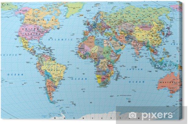 Varillinen Maailman Kartta Rajat Maat Tiet Ja Kaupungit
