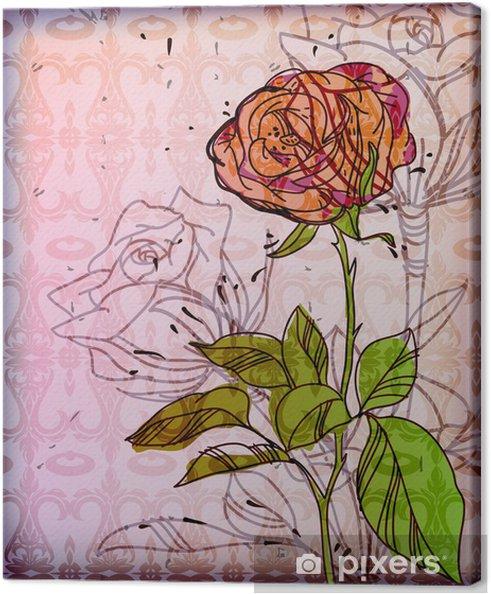 Vektori tausta yhdellä ruusu Kangaskuva - Kukat