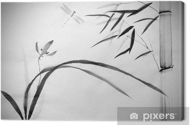 Villi orkidea ja bambua Kangaskuva - Kasvit Ja Kukat