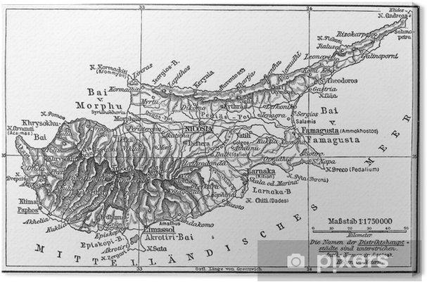 Vintage Kartta Kypros 1800 Luvun Lopulla Kangaskuva Pixers