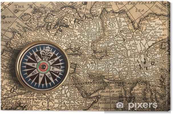 Vintage Kompassi Ja Vanha Kartta Kangaskuva Pixers Elamme