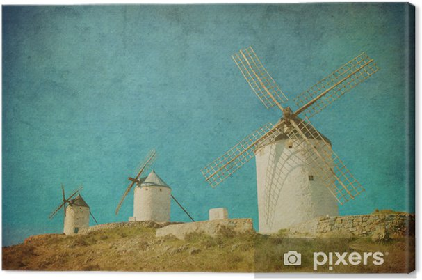 Vintage kuva tuulimyllyjä consuegra, espanja. Kangaskuva - Mills and windmills