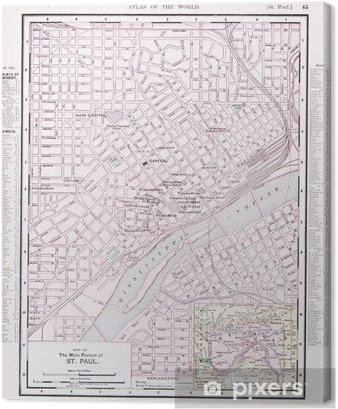 Yksityiskohtainen Antiikki Vari Katu Kaupungin Kartta St Paul